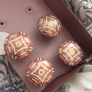 4 drawer knobs pink gold white